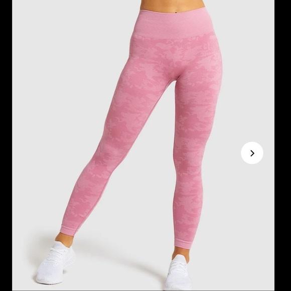Gymshark Adapt Camo Seamless Dusky Pink Barely Used Size Large Leggings